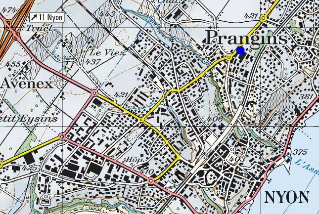 Plan de Nyon-Prnagins avec lieu de rdv